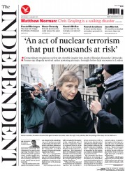 The Independent (UK) Newspaper Front Page for 28 January 2015