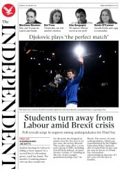 The Independent (UK) Newspaper Front Page for 28 January 2019