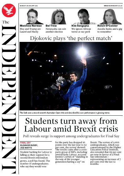 The Independent Newspaper Front Page (UK) for 28 January 2019