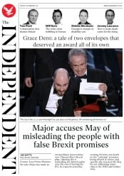 The Independent (UK) Newspaper Front Page for 28 February 2017