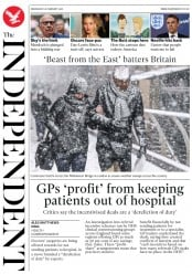 The Independent (UK) Newspaper Front Page for 28 February 2018