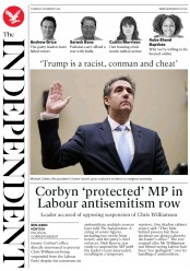 The Independent () Newspaper Front Page for 28 February 2019
