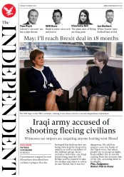 The Independent (UK) Newspaper Front Page for 28 March 2017