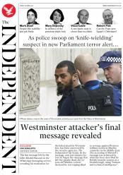 The Independent (UK) Newspaper Front Page for 28 April 2017