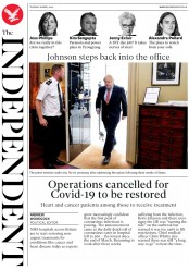 The Independent (UK) Newspaper Front Page for 28 April 2020