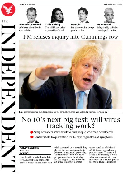 The Independent Newspaper Front Page (UK) for 28 May 2020