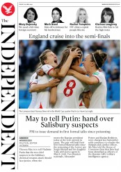 The Independent (UK) Newspaper Front Page for 28 June 2019