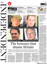 The Independent (UK) Newspaper Front Page for 28 August 2015