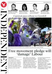 The Independent (UK) Newspaper Front Page for 28 August 2017