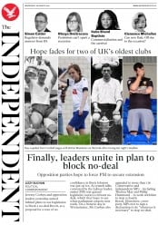 The Independent (UK) Newspaper Front Page for 28 August 2019