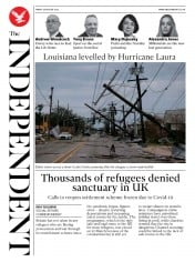 The Independent (UK) Newspaper Front Page for 28 August 2020