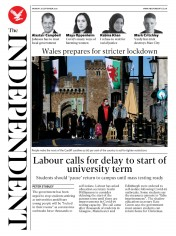 The Independent front page for 28 September 2020