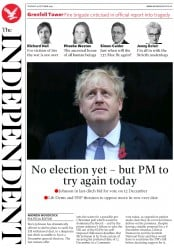 The Independent (UK) Newspaper Front Page for 29 October 2019