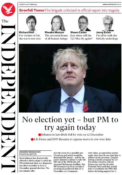 The Independent Newspaper Front Page (UK) for 29 October 2019