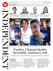 The Independent (UK) Newspaper Front Page for 29 October 2020