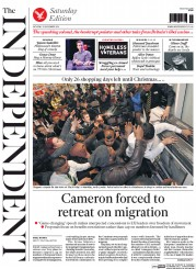 The Independent (UK) Newspaper Front Page for 29 November 2014