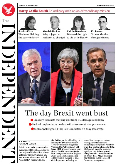 The Independent Newspaper Front Page (UK) for 29 November 2018