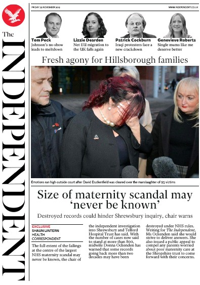 The Independent Newspaper Front Page (UK) for 29 November 2019