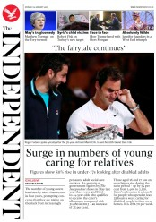 The Independent (UK) Newspaper Front Page for 29 January 2018