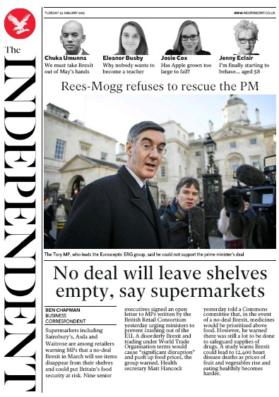 The Independent Newspaper Front Page (UK) for 29 January 2019