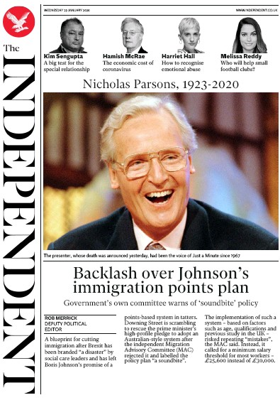 The Independent Newspaper Front Page (UK) for 29 January 2020