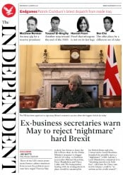 The Independent (UK) Newspaper Front Page for 29 March 2017