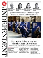 The Independent (UK) Newspaper Front Page for 29 March 2021