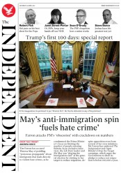 The Independent (UK) Newspaper Front Page for 29 April 2017