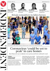 The Independent (UK) Newspaper Front Page for 29 April 2020