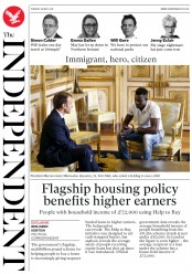 The Independent (UK) Newspaper Front Page for 29 May 2018