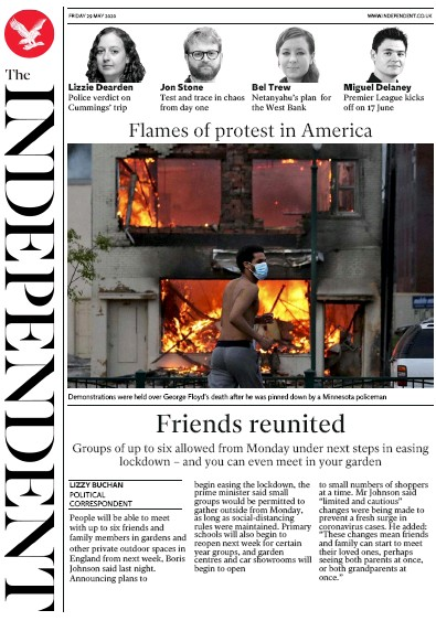 The Independent Newspaper Front Page (UK) for 29 May 2020