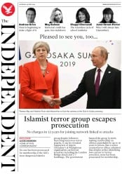 The Independent (UK) Newspaper Front Page for 29 June 2019