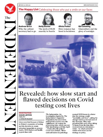 The Independent Newspaper Front Page (UK) for 29 June 2020