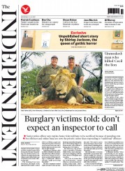 The Independent (UK) Newspaper Front Page for 29 July 2015