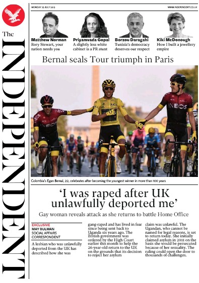 The Independent Newspaper Front Page (UK) for 29 July 2019