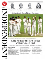 The Independent front page for 29 July 2020