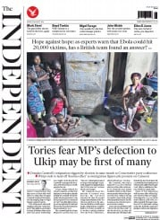 The Independent (UK) Newspaper Front Page for 29 August 2014