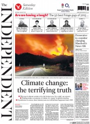 The Independent (UK) Newspaper Front Page for 29 August 2015