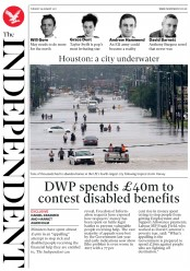The Independent (UK) Newspaper Front Page for 29 August 2017