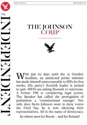 The Independent () Newspaper Front Page for 29 August 2019