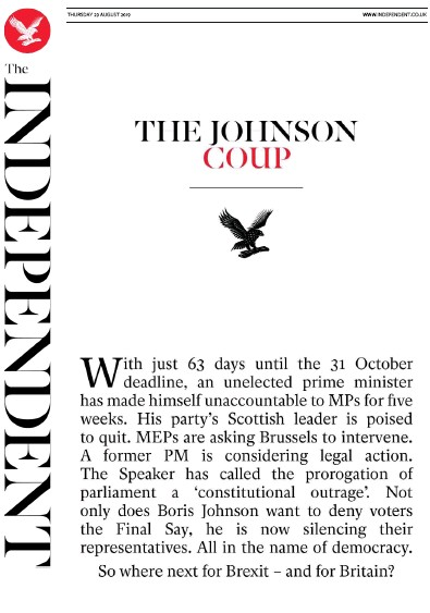 The Independent Newspaper Front Page (UK) for 29 August 2019