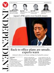 The Independent (UK) Newspaper Front Page for 29 August 2020