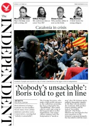 The Independent (UK) Newspaper Front Page for 2 October 2017