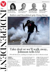 The Independent (UK) Newspaper Front Page for 2 October 2019