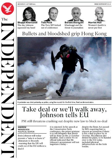 The Independent Newspaper Front Page (UK) for 2 October 2019