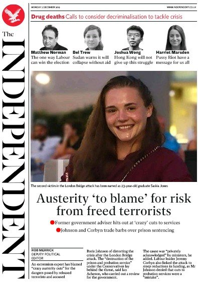 The Independent Newspaper Front Page (UK) for 2 December 2019
