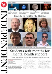 The Independent (UK) Newspaper Front Page for 2 January 2018