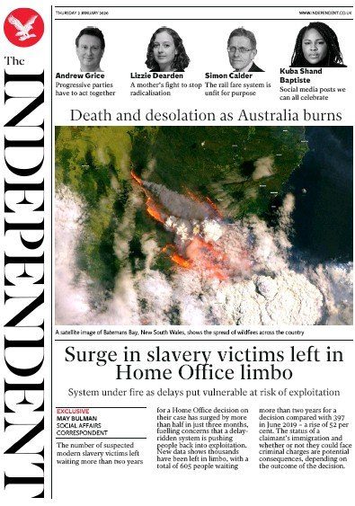 The Independent Newspaper Front Page (UK) for 2 January 2020