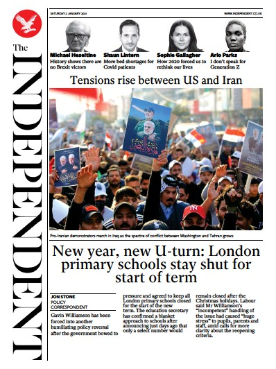 The Independent Newspaper Front Page (UK) for 2 January 2021