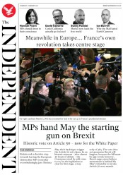 The Independent (UK) Newspaper Front Page for 2 February 2017